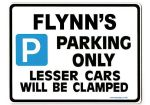 FLYNN'S Personalised Gift |Unique Present for Him | Parking Sign - Size Large - Metal faced